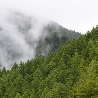 paisaje de montaña verde con nubes